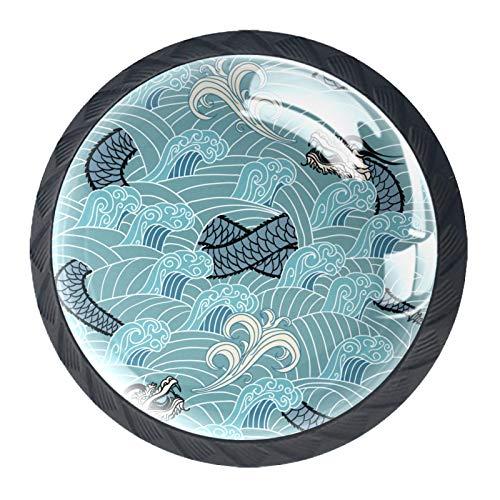 Paquete de 4 pomos de repuesto para gabinete de armario, puerta y cajón, pomos para cocina, aparador, armario, baño, armario, dragón azul oriental en la onda