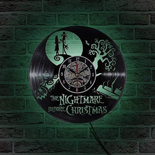 zgfeng Reloj de Vinilo con grabación de CD, Tema de Pesadilla Antes de Navidad, película en 3D, Reloj de Pared LED Colgante, Reloj Antiguo Creativo