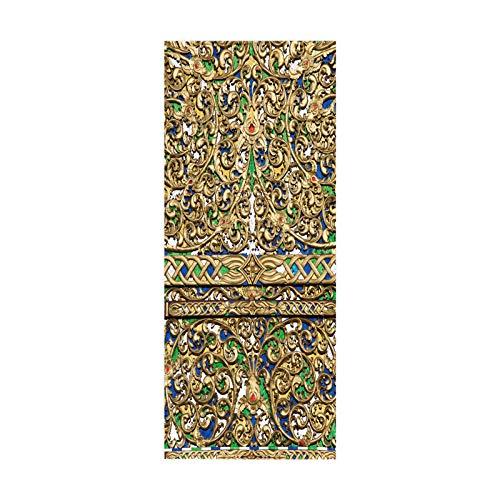 HOPAX Pegatinas de Puerta clásicas Doradas, Carteles murales de Puerta, Pegatinas para Puertas Interiores, Dormitorio, Sala de Estar, baño, decoración 95 * 215 cm