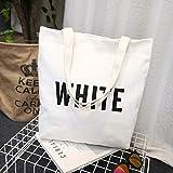 Bolsa de lona para mujer, de moda, de hombro, con impresión de letras concisas blanco