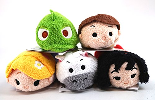 Disney 'Tsum Tsum' Mini Plush Collection, Tangled, Set of 5: Rapunzel, Flynn Rider, Maximus, Pascal and Mother Gothel