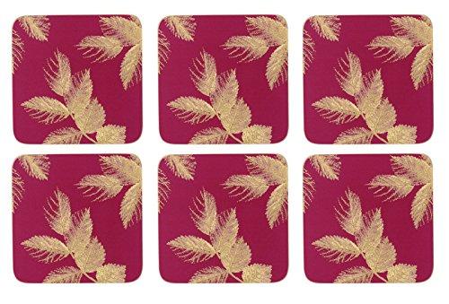 Sara Miller for Portmeirion Lot de 6 Dessous-de-Verre avec Feuilles gravées, Céramique, Rose, 30 x 40 x 3 cm