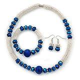 Avalaya Halskette mit silberfarbenen Schneeflocken-Metallringen mit blauen Glasperlen und Magnetverschluss (42 cmL), Flex-Armband (17 cmL) und Tropfen-Ohrringe (35 mm L), Set