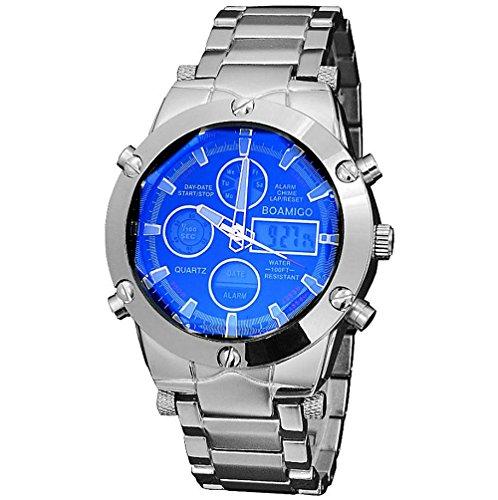 orologi sportivi di marca degli uomini di lusso BOAMIGO Orologi da polso cinturino in acciaio Tempo LED dell'orologio doppio di quarzo analogico digitale , black