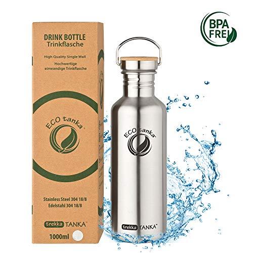 ECOtanka trekkaTANKA Trinkflasche aus Edelstahl 1 Liter auslaufsicher - Wasserflasche BPA frei mit Bambus-Verschluss