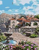 大人のための数字によるペイント-初心者のための数字キットによる町の噴水DIY油絵40x50cmフレームレス