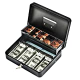 INFUN Cash Box with Money Tray, Durable Large Steel Money Boxes, 5 Compartment Tray, 4 Spring-loaded, come with 2 key, Black