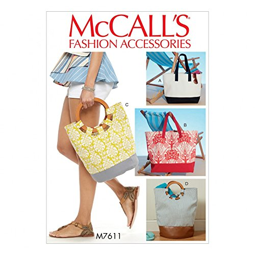 McCalls Accessories Easy Sewing Pattern 7611 Lined Tote Bags with Contrast Variations