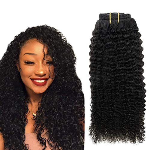 Easyouth Clip Hair Extensions 16inch 100g 7Pcs Natural Black Clip in Afro Curly Hair Clip Hair...