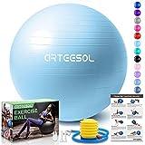 arteesol Balón de Ejercicio Anti-explosión, 45cm/55cm/65cm/75cm/85cm Fitness Yoga Ball Estabilizador de balón de Equilibrio Resistente con Bomba rápida para Core Force (Luna Azul, 45cm)
