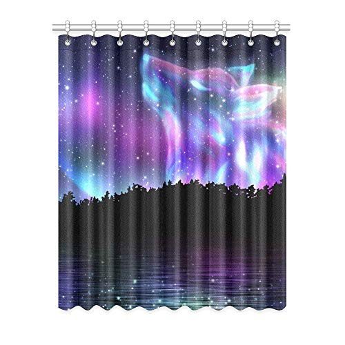 InterestPrint Custom Blackout Window Curtains Howling Wolf Spirit and Aurora Borealis Room Bedroom Kitchen Home Living Solid Grommet Window Drapes Curtains 52x63 inch