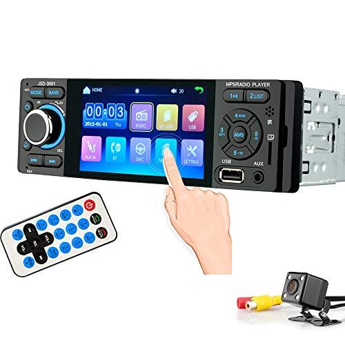 Autoradio Bluetooth PolarLander Radio Coche con 4 Pulgadas Pantalla táctil y Potencia de Salida 4 * 60W, Soporte Enlace espejo para teléfono inteligente Android/MP3/WMA/FM con cámara de visión trasera