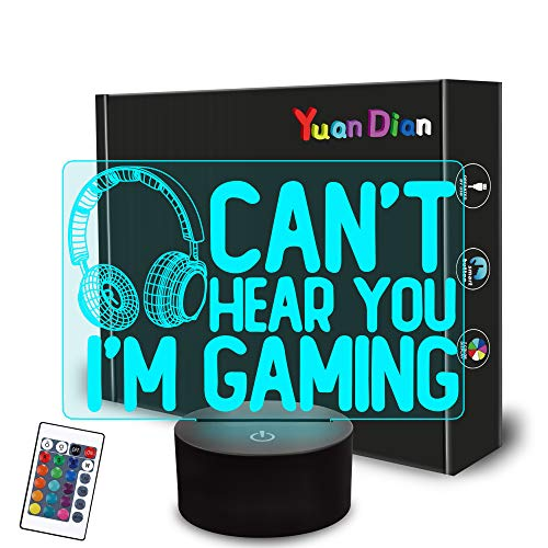 Can't Hear You I'm Gaming Night Light, Headset Graphic Video Games Gamer Gift Funny 3D Illusion Lamp...