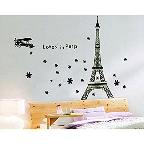 WINOMO Autocollant Mural Paris Tour Eiffel de Fluorescent Lumineux Sticker Mural Decal
