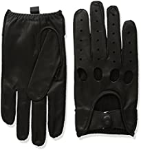 Isotoner Men's Smooth Leather Driving Glove With Covered Snap,Black,Large