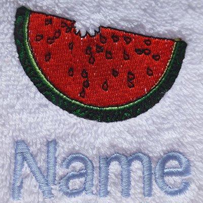 EFY Peignoir à capuche pour enfant avec logo pastèque et nom de votre choix Rose 2, 4, 6, 8, 10 ou 12 ans