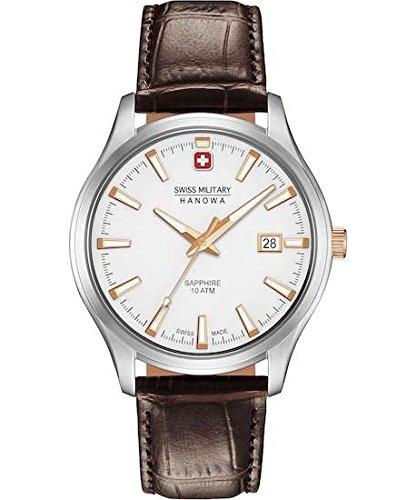 SWISS MILITARY-HANOWA Herren Analog Quarz Uhr mit Leder Armband 06-4303.04.001.09