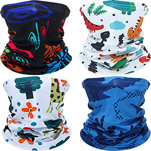 Kids Youth Face Cover UV Protection Bandana Neck Gaiter Scarf with Built-in Filter Pocket for Kids Outdoor Sports (4 Pieces, Cartoon Dinosaur, Graffiti, Camo, Giraffe)