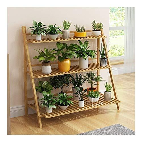 QQB Fashion Usine en Bois Support 3 Niveau Pliant Fleur présentoir Bonsai étagère Support de Rangement échelle décoration extérieure et intérieure (Size : 100cm*40cm*96cm)