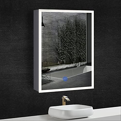DICTAC Spiegelschrank Bad mit Beleuchtung + Steckdose, Metallgehäuse, Dreifarbig LED(3000-6500K), Einstellbare Helligkeit, 50x13,5x72cm, weiß. Prägnant, leicht zu reinigen.