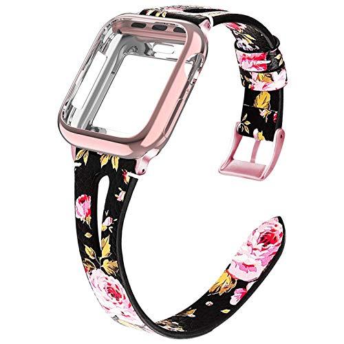 Miimall - Correa de reloj de piel para Apple Watch Serie 4/5/6/SE de 40 mm + carcasa de poliuretano termoplástico, correa de repuesto para iWatch serie 6/5/4/SE 40 mm, color rojo y flor