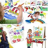 30 Pezzi Pennelli Spugna per Pittura Set per Bambini Strumenti per L'apprendimento Precoce 29 Pennelli per Pennelli PCS + 1 Borsa, Colori Assortiti e Forme (30 Pezzi) #6