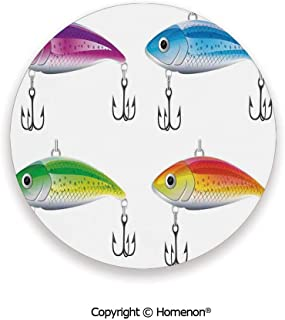 Collection of Fishing Lures in Trout Shape Trap for Sea Mammals Creatures Picture,Fashion Coasters For Drinks Absorbent Multi,3.9×0.2inches(6PCS),Prevent Furniture From Dirty Scratched