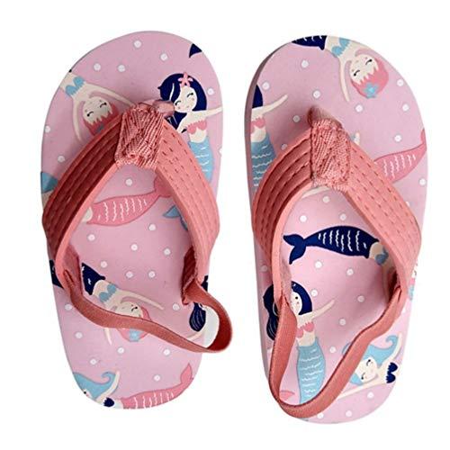 Happyyami Baby Mädchen Sommersandale Stilvolle Meerjungfrau Meer Flip Flop Leichte Schnelle Trocknende Slipper Schaum Strandschuhe rutschfeste Weiche Sohle Schuhe Rosa 25