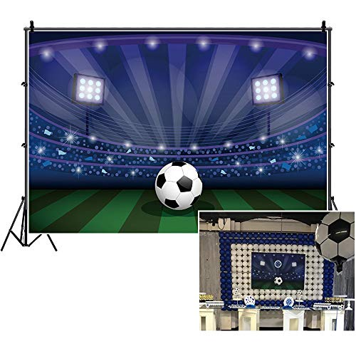 LFEEY 5x3ft Soccer Stadium Backdrop Lighting Football Pitch Lawn Photo Booth Props Grassland Sports Field Background for Photography Boys Kids Birthday Party Decoration