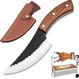 NedFoss Serbian Chef Knife - Cuchillo para picar, forjado a mano, mango de madera de caoba, 58-59HRC