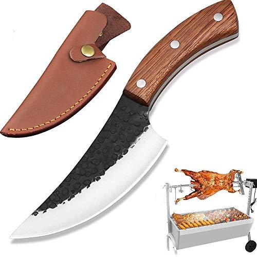 NedFoss Cuchillo de chef de Serbian, hecho a mano, cuchillo de carnicero para barbacoa, cuchillo afilado con funda de piel exquisita, mango de caoba 58-59HRC