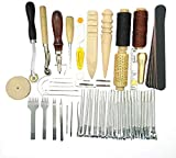 59Pcs Kit de Herramientas de Leathercraft Profesional Craft DIY de Mano Coser Costura Grabado Estampado Set Elaboración de Cuero