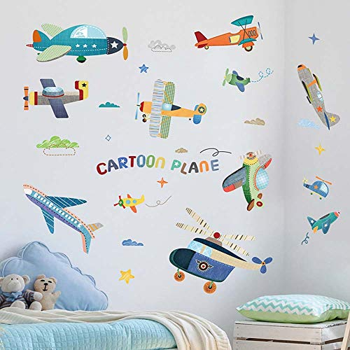 iwallsticker 3D Colorful Airplane Wall Decals Boys Kids Room Wall Decor Removable Wall Stickers for Nursery Baby Bedroom Playroom