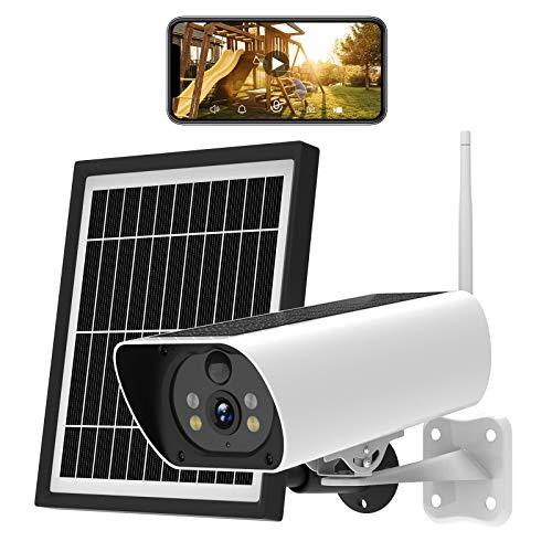 Überwachungskamera Aussen WLAN, Solar Kamera Outdoor mit Solarpanel, 1080P HD Video, IP65 wasserdichte, Zwei-Wege Audio, Nachtsicht, Cloud/SD Steckplatzspeicher, PIR Bewegungserkennung