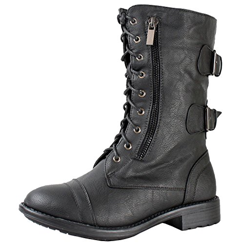 TOP Moda Women'S Pack-72 Military Lace Up Combat Boot,Black,8.5
