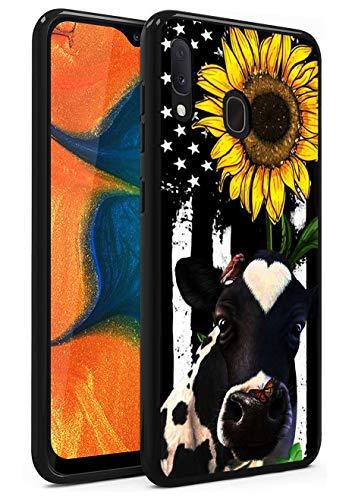 Galaxy A10E Case, Galaxy A20E Case, Soft Silicone TPU Case Anti-Scratch Shockproof Full-Body Protective Cover for Samsung Galaxy A10E / A20E (2019) 5.8, American Flag Sunflower and Cow