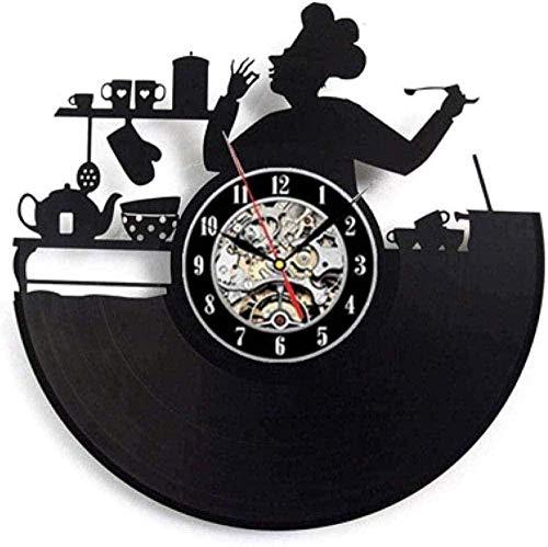 ZYBBYW Reloj de Pared de Vinilo vajilla Disco de Vinilo Reloj de Pared diseño Cuchara decoración de la Cocina Reloj de Vinilo Retro Reloj de Pared decoración del hogar Tranquilo
