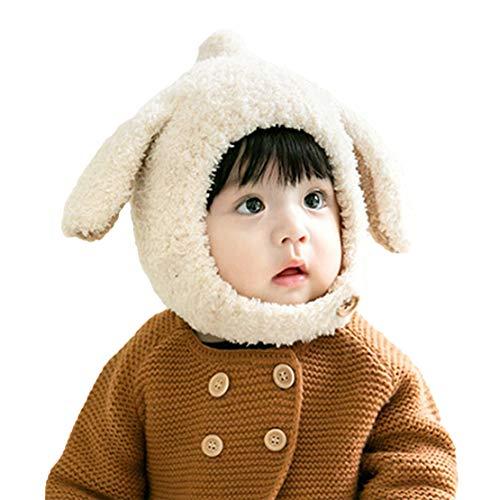 HIOD Niños Bebé Invierno Cálido Sombrero Lindo Niño Gorros con 2 Orejas para Niños Niñas,Beige
