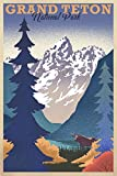 Grand Teton National Park, Wyoming, Lithograph (12x18 Art Print, Wall Decor Travel Poster)