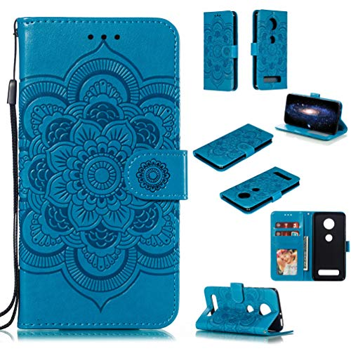 LingDan Schutzhülle für Motorola Moto Z4 Play (6,22 Zoll) PU Lederhülle Flip Cover Präge Mandala Blumen Muster mit Ständer Magnetverschluss Kartensteckplatz Brieftasche Handyhülle, Blau