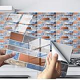 Exnemel 48pcs pegatinas para azulejos para baño, cocina, autoadhesivas, impermeables, para pared del metro, pegatinas para azulejos, transferencias, vinilo, papel tapiz con efecto de azulejo diy