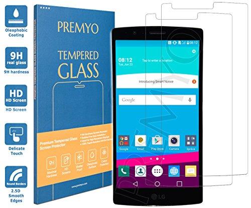 PREMYO 2 Stück Panzerglas Schutzglas Displayschutzfolie Folie kompatibel für LG G4 Blasenfrei HD-Klar 9H 2,5D Gegen Kratzer Fingerabdrücke