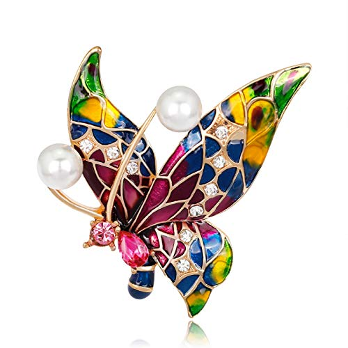 COLORFULTEA Broches De Mariposa Esmaltados para Mujer, Broche De Insectos con Perlas,...