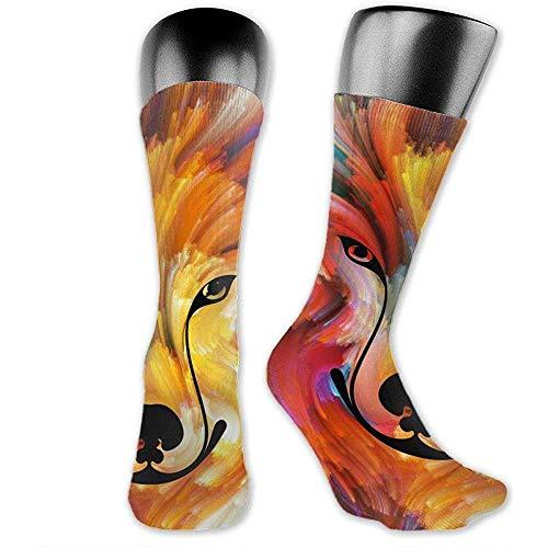 NA Heren/Dames Sokken 40cm, Wolf Art Unisex Fashion ademend Sportief Running Crew Socks Casual Reiskousen