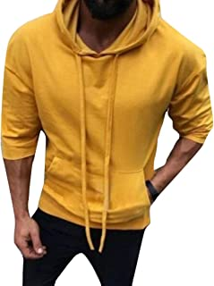 Macondoo Men Top Hooded Pullover Casual 3/4 Sleeve Sweatshirts