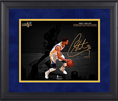 """Stephen Curry Golden State Warriors Framed 11"""" x 14"""" 2017 NBA Finals Champions Triple-Double Spotlight Photograph - Facsimile Signature - NBA Player Plaques and Collages"""