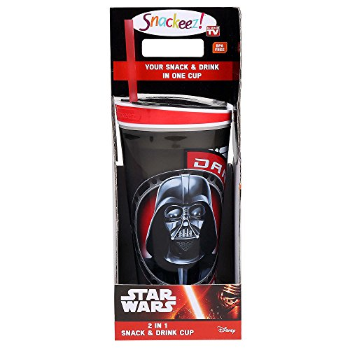 Star Wars Legacy Darth Vader Snackeez! All-In-One Go Anywhere Snacking Solution Full Size Large Adult 16 oz Beverage Container and 8 oz Snack Cup