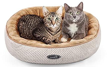 Pecute Cama de Gatos y Perros Pequeños Redonda y Cálida 55cm de Diámetro Cama para Mascotas Cojín de Gato Lavable de la Cama Lecho Ovalado de Cueva de Anidación Adecuado