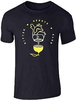 Pop Threads Bitter Hearts Club Broken Heart Cute Lemon Funny Graphic Tee T-Shirt for Men