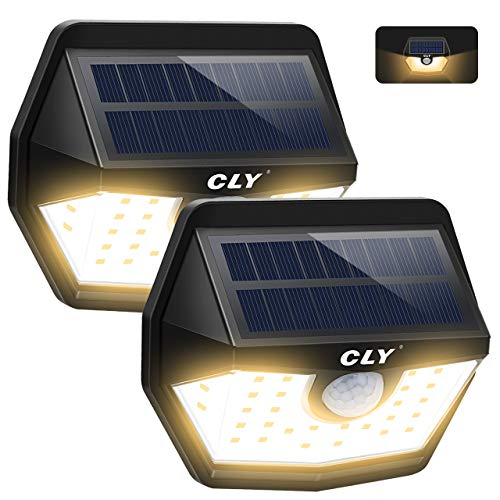Luce Solare LED Esterno, CLY Lampada Solare con Sensore di Movimento, Super Luminosa Bianco Caldo 3000K 450Lumens, Luci Solari da Parete IP66 Impermeabile Solare per Giardino, Patio (2-Pezzi)